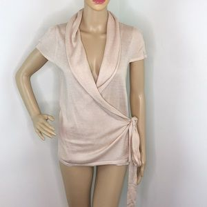 Topshop Nude Short Sleeve Wrap